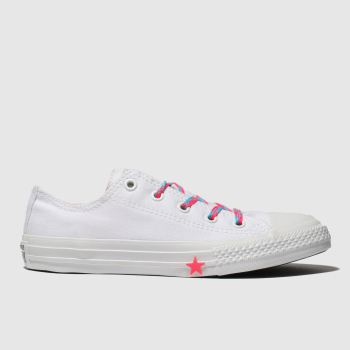 Converse White & Pink Chuck Taylor All Star Lo Girls Junior