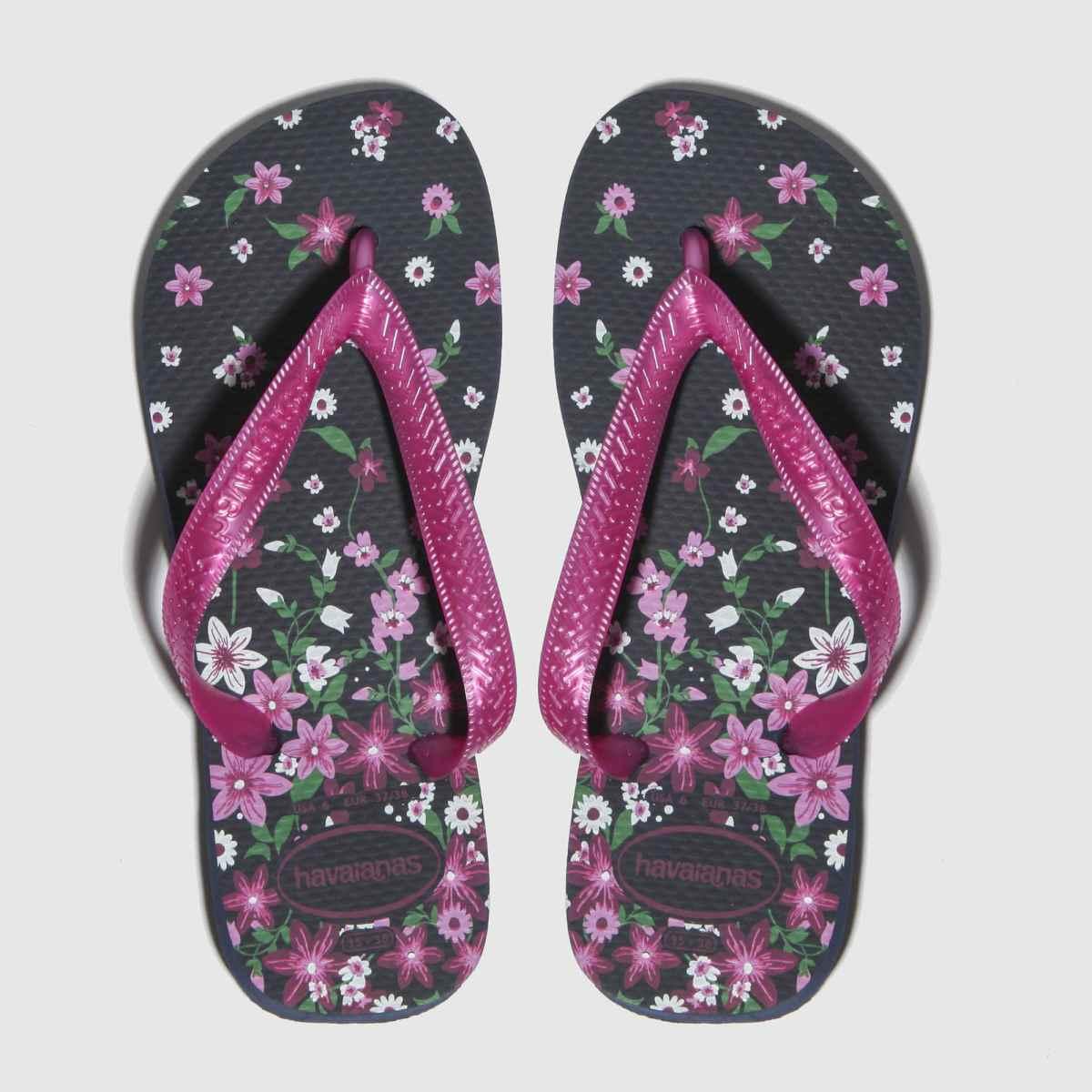 Havaianas Black & Pink Flores Sandals Junior