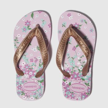 havaianas pink & gold kids flores sandals junior