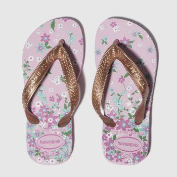 Havaianas Pink & Gold Kids Flores Girls Junior from Schuh
