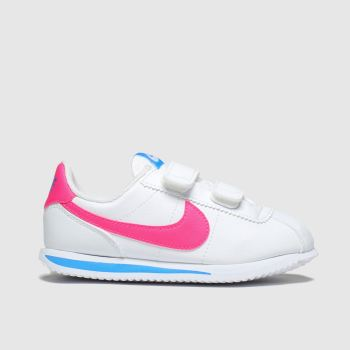 Nike White & Pink Cortez Basic Girls Junior
