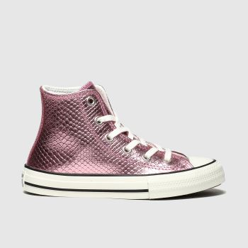 Converse Pink All Star Hi Metallic Snake Girls Junior