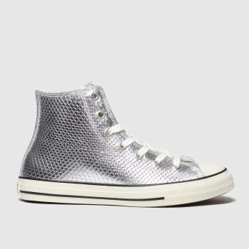 Converse Silver All Star Hi Metallic Snake Girls Junior