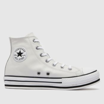 Converse White All Star Hi Platform Eva Girls Junior