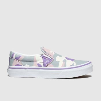 vans grey & purple classic slip-on trainers junior