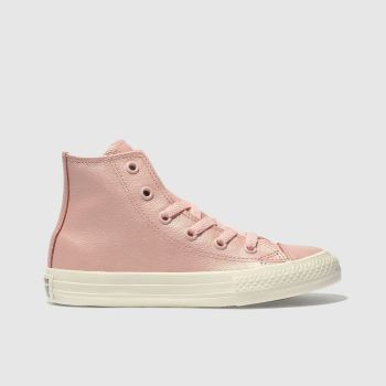 Converse Pink All Star Hi Leather Girls Junior
