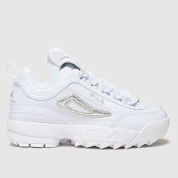 Fila White & Silver Distuptor Ii Met Girls Junior