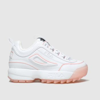 Fila White & Pink Distuptor Ice Jnr Girls Junior