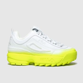 Fila White & Yellow Distuptor Ii Brights Girls Junior