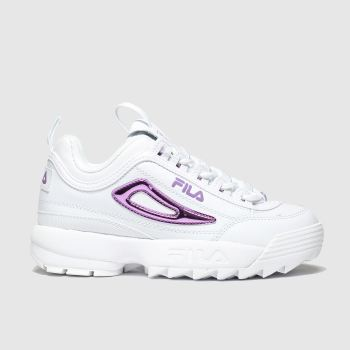 Fila White & Purple Distuptor Ii Metallic Girls Junior