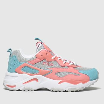 fila grey & pink ray tracer trainers junior