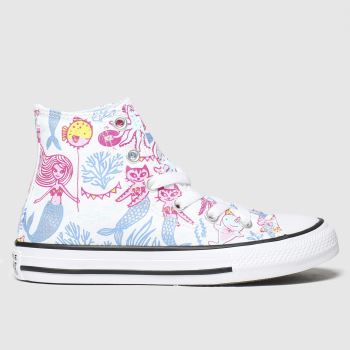Converse White & Pl Blue Hi Mermaid Girls Junior