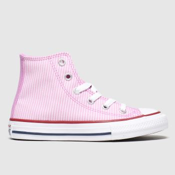 converse white & pink hi pinstripe trainers junior