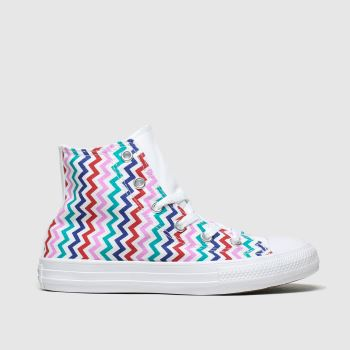Converse white & pink hi vltg trainers junior