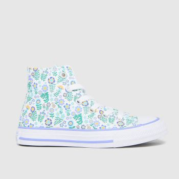 Converse white & green hi ditsy floral trainers junior