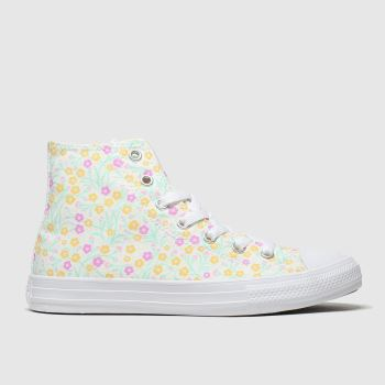 Converse White & Yellow Hi Floral Girls Junior