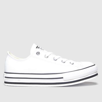 Converse White & Black All Star Lo Platform Eva Girls Junior