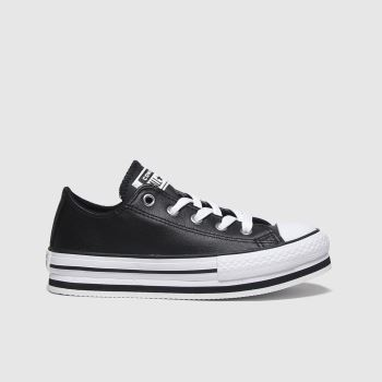 Converse Black & White All Star Lo Platform Eva Girls Junior