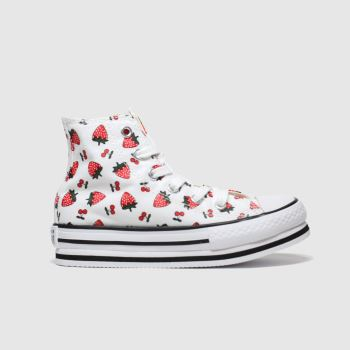 Converse White & Red All Star Hi Platform Fruits Girls Junior