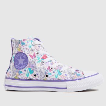 Converse White & Purple Hi Fantasy Print Girls Junior