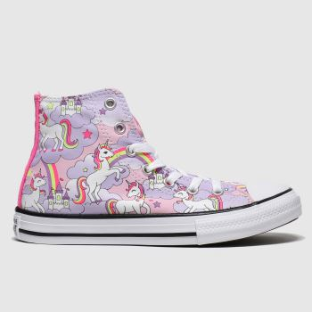 Converse Lilac All Star Hi Neon Unicorn Girls Junior