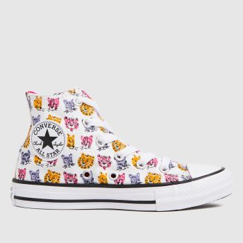 Converse White & Pink Hi Jungle Cats Girls Junior