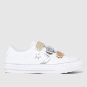 Converse White & Silver Star Player 3v Lo Girls Junior