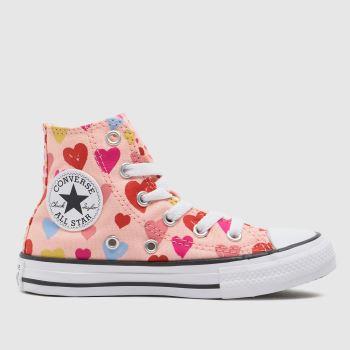Converse Pale Pink Hi Hearts Girls Junior