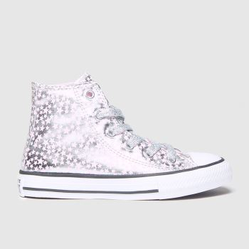 Converse Silver All Star Hi Shes A Star Girls Junior