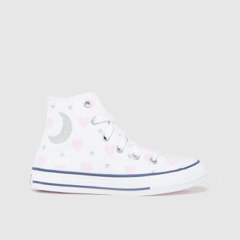Converse White & Pink All Star Hi Make A Wish Girls Junior