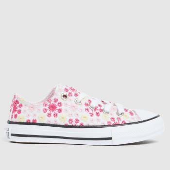 Converse White & Pink Lo Broderie Girls Junior