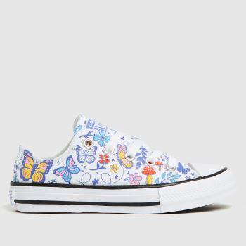 Converse White & Blue Lo Butterfly Fun Girls Junior