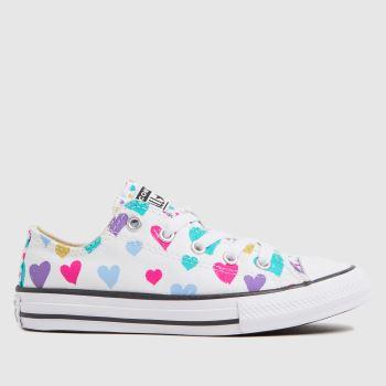 Converse White & Pl Blue Lo Hearts Girls Junior