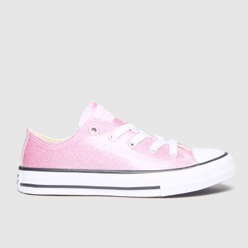 Converse Pale Pink All Star Lo Glitter c2namevalue::Girls Junior