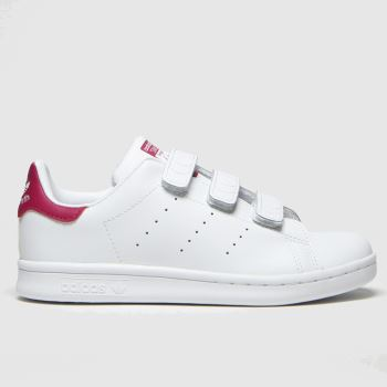 Adidas White & Pink Stan Smith c2namevalue::Girls Junior