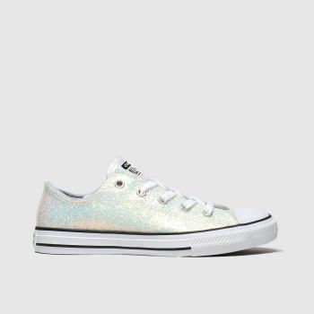 Converse White & Pl Blue All Star Lo Glitter Girls Junior