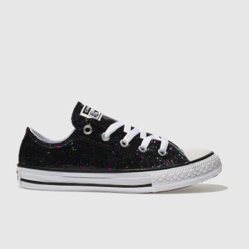 Converse Black All Star Lo Glitter Girls Junior