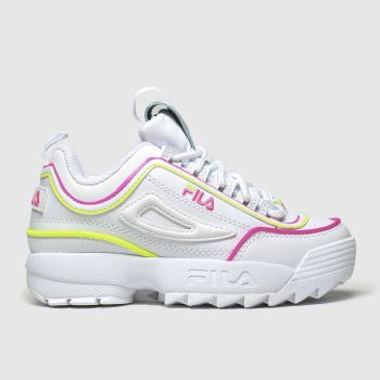 Fila White & Pink Disruptor Ii Contrast Girls Junior
