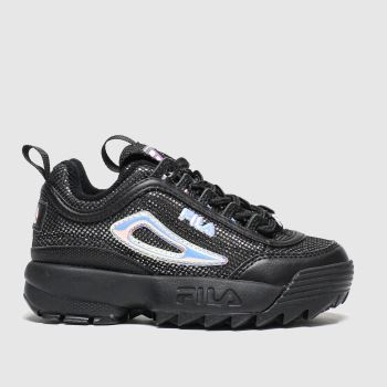 Fila Black & Silver Disruptor Ii Diamante Girls Junior#
