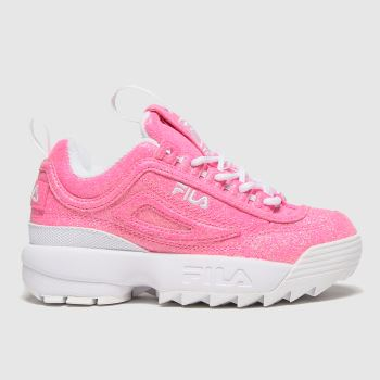 Fila pink disruptor ii glimmer trainers junior