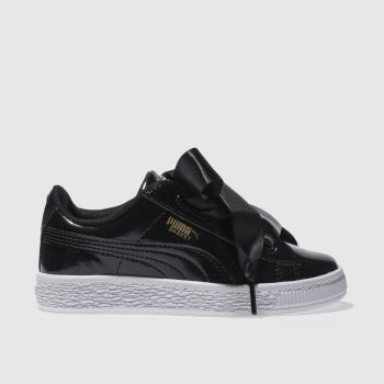 372ce5a4b0e465 Girls black puma basket heart glam trainers
