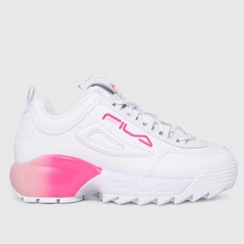 Fila White & Pink Disruptor 2a Girls Junior