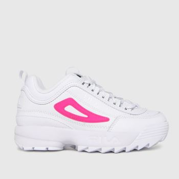 Fila White & Pink Disruptor Ii Girls Junior