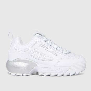 Fila White & Silver Disruptor 2a Girls Junior