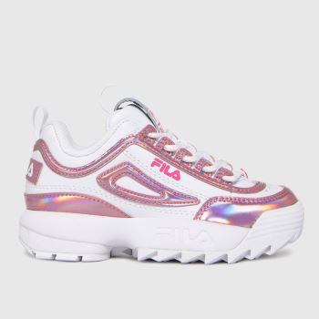 Fila White & Pink Disruptor Ii Liquid Girls Junior