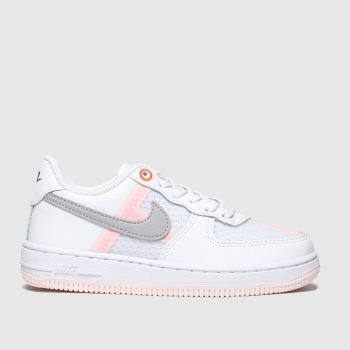 nike white & grey air force 1 lv8 trainers junior