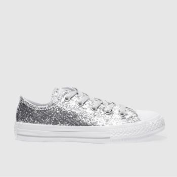 3447ced9035665 Converse Silver All Star Ox Glitter Girls Junior