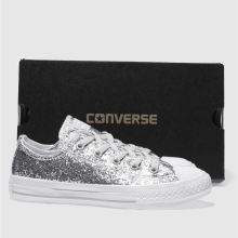 Girls silver converse all star ox glitter trainers | schuh