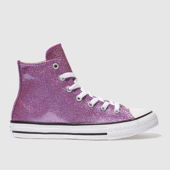 e7dbafddb2c700 Girls pink converse all star hi glitter trainers
