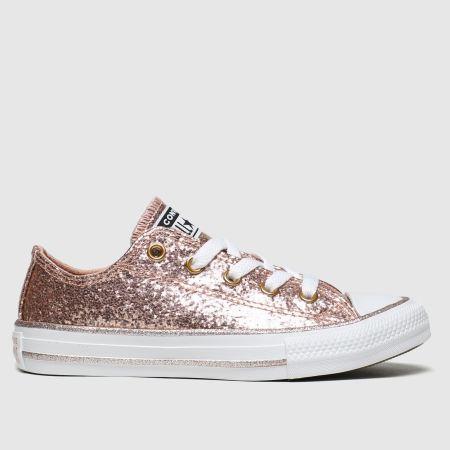 Girls Pink Converse All Star Lo Glitter